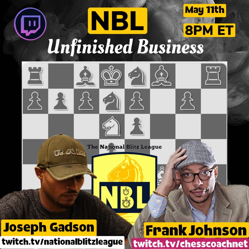 Cagematch streamed live on Twitch.tv/chesscoachnet 8pm May 11th vs. Joseph Gadson Twitch.tv/nationalblitzleague
